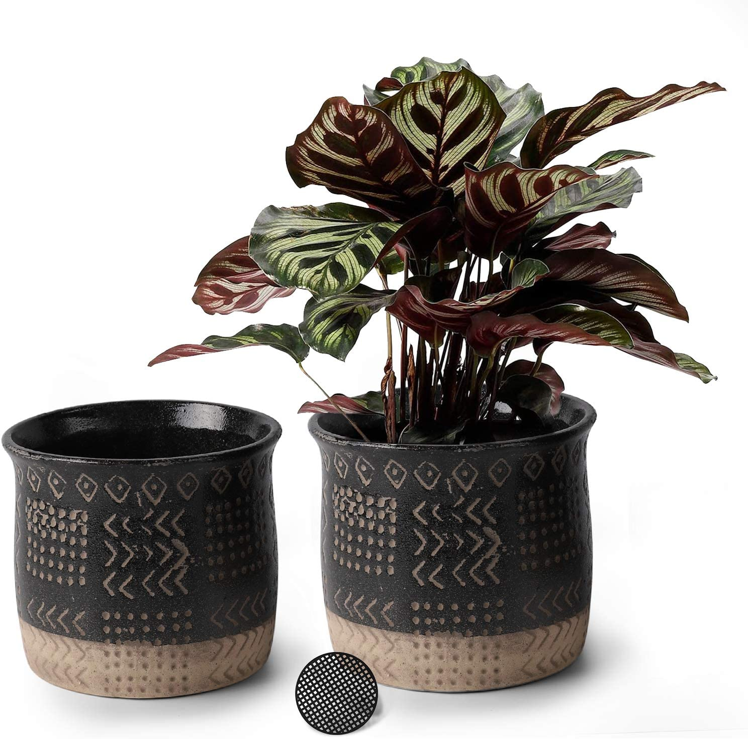 5.5 Inch Ceramic Planters Set of 2,Retro Pattern Breathable Design Round Flower Plant Pots with Drainage for Indoor and Outdoor Garden Decoration