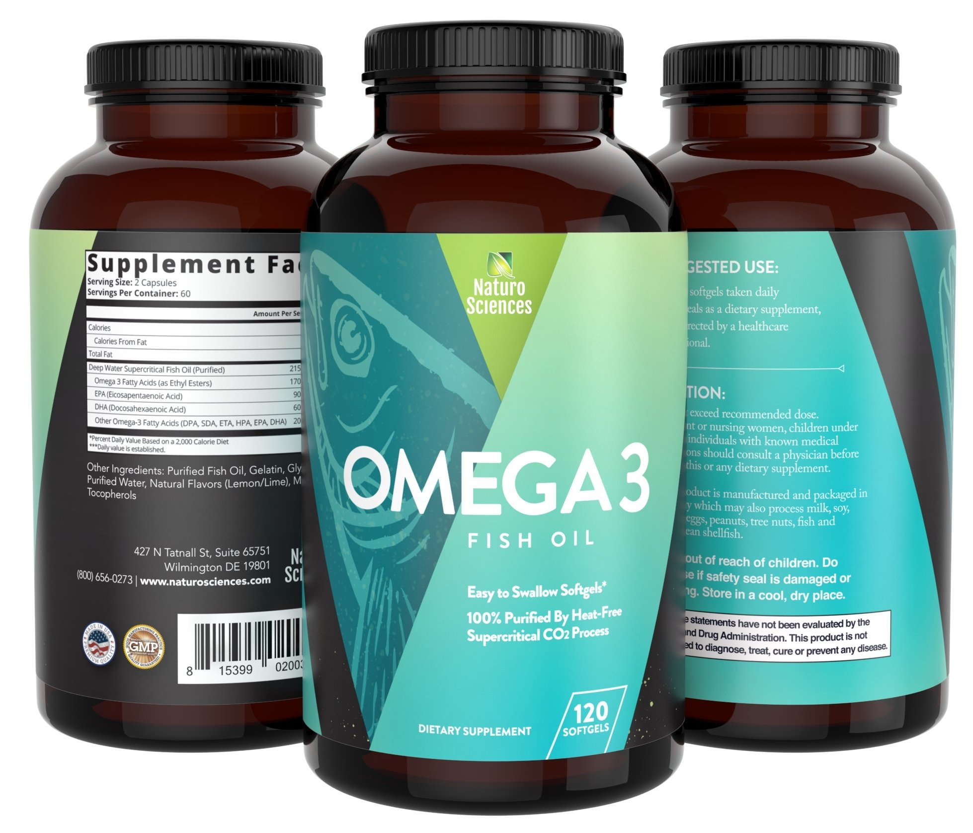 1700mg of Omega 3 - Essential Fatty Acid Fish Oil Supplement - IFOS 5 Star Certified, Best EPA 900mg & DHA 600mg Per Serving - Supercritical Process for Quality Purified Omega-3 120 Count- Pack of 3 by Naturo Sciences