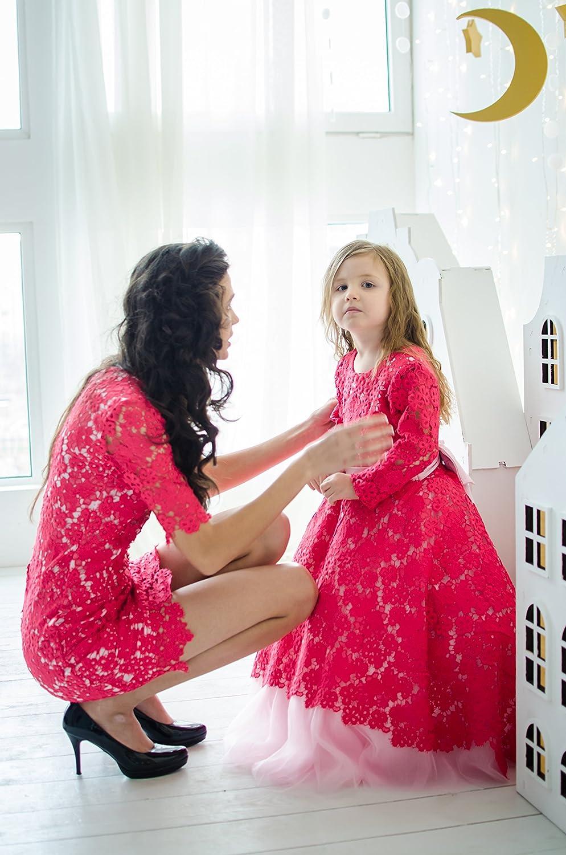 e9148e8ecf18 Amazon.com  Mommy and Me Crimsom lace dresses
