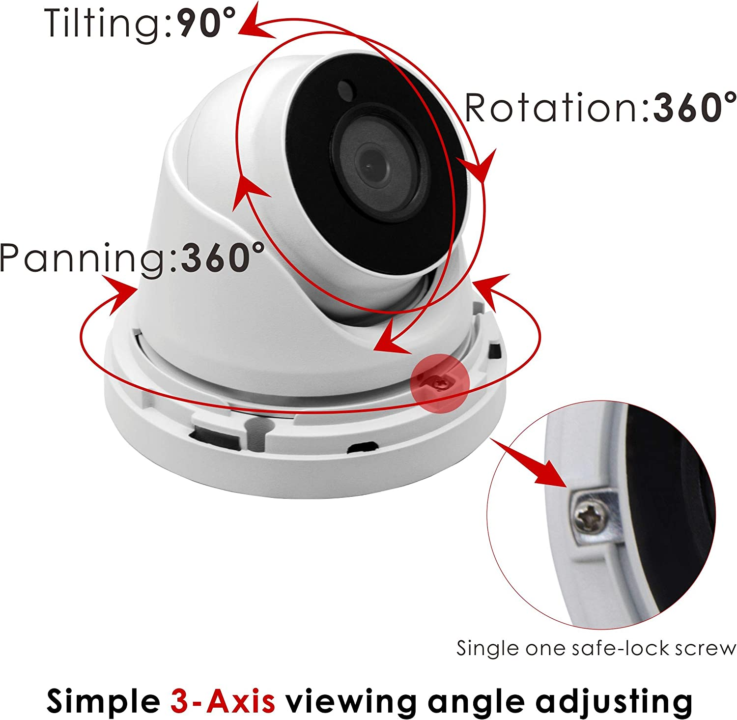 Inwerang 5Mp 4-In-1 Ahd/Cvi/Tvi/Analog Ip66 Waterproof Outdoor/Indoor Turret Dome Camera 65Ft Ir Night Vision 3.6Mm Wide Angle Lens(Compatible mit Hikvision/Dahua 5Mp 20Fps Dvrs)