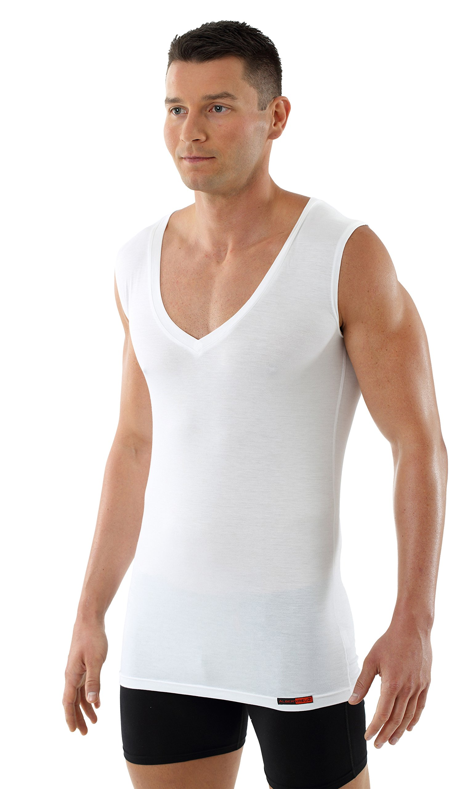 ALBERT KREUZ Men's Sleeveless deep V-Neck Business Undershirt of Breathable Micromodal Light White XXL
