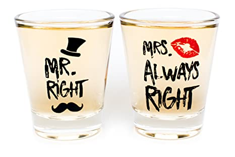 Funny Wedding Gifts.Funny Wedding Gifts Mr Right And Mrs Always Right Novelty Shot Glasses Engagement Gift Or Anniversary Gift For Newlyweds And Couples