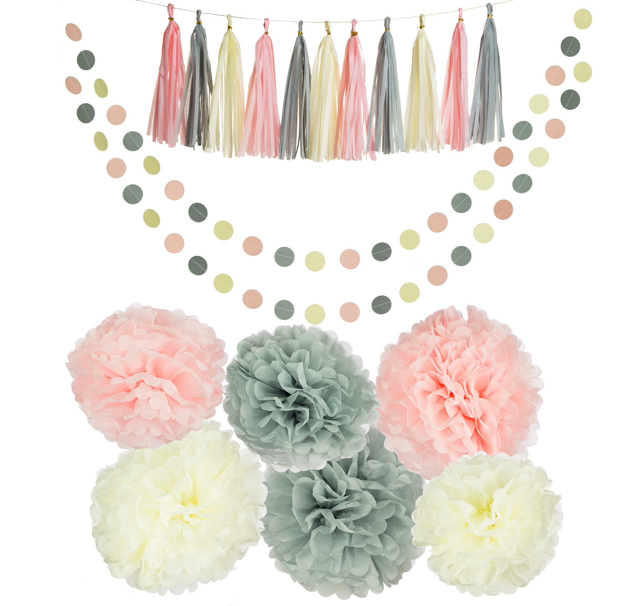 Party Charm 20PCS Tissue Decoration Kit   Pretty Party Supplies: Pom Flowers, Garland & Tassels   Pastel Pink, Gray & Ivory   Perfect poms for baby shower or girls first birthday!