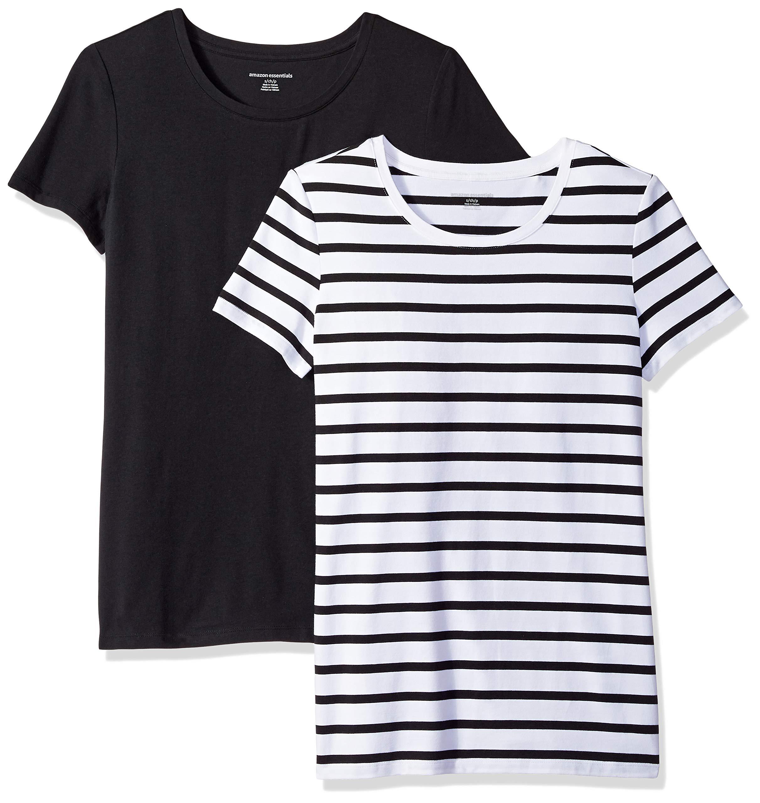 Amazon Essentials Women's 2-Pack Short-Sleeve Crewneck T-Shirt, White Mariner Stripe/Black, Medium