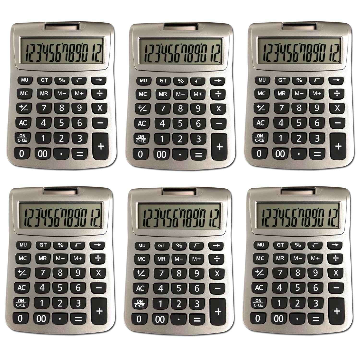 Bulk Digital Calculators Solar Powered Desktop Big Screen Basic Calculator With Electronic Number 12 Digit Display (6-Pack) - Colors May Vary Assortit