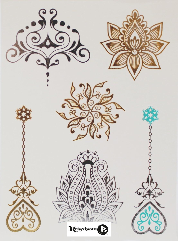 Hermosos tatuajes temporales turquesas, oro y plateado por ...