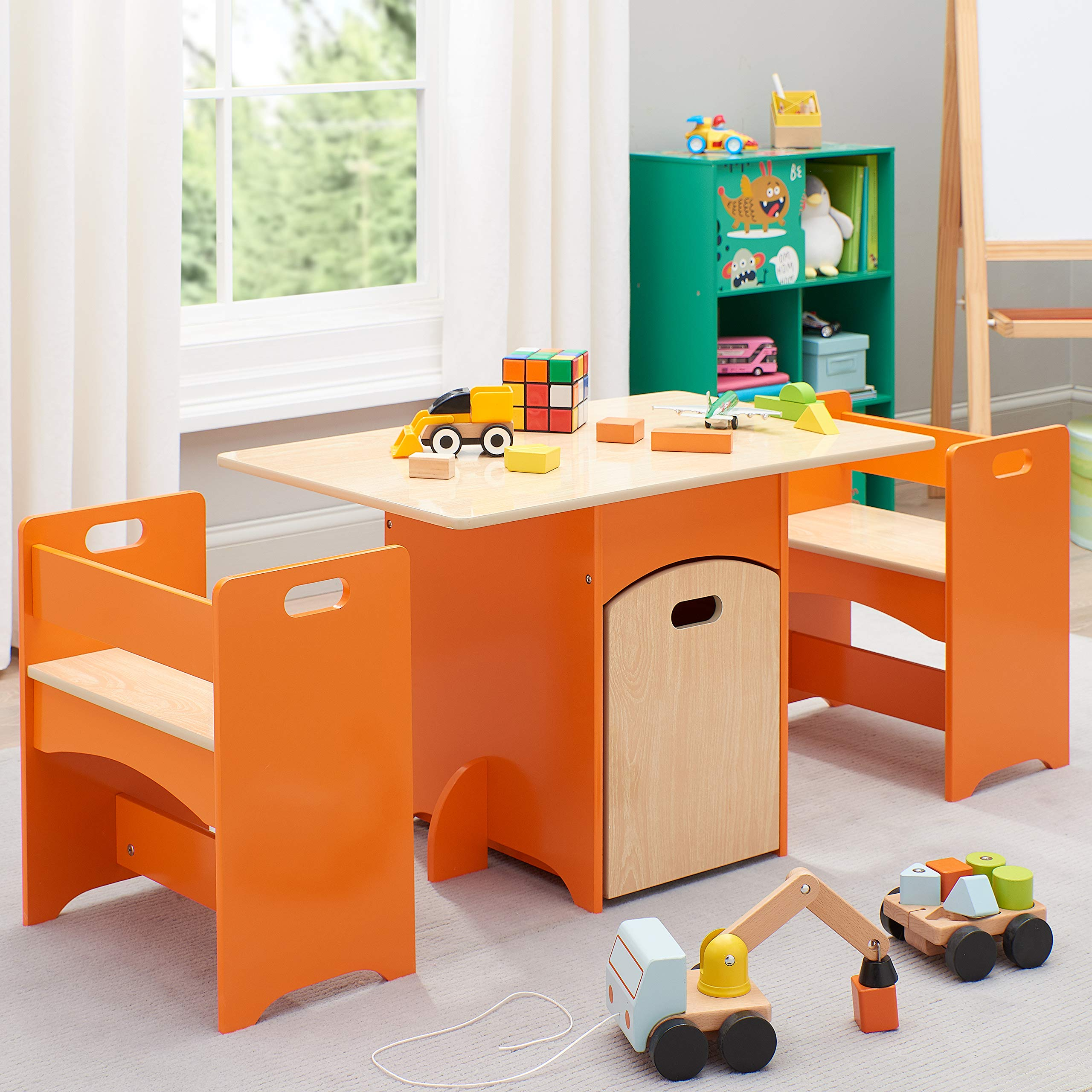 Delight Kids, Unique and Awesome Kids' Wooden Storage Table and Bench Set,4 Piece,All Fit Neatly Beneath The Table,Ideal for Classrooms,Kids Room,Playroom,Orange by Senda