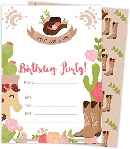 Cowgirl Cow Girl Style 2 Happy Birthday Invitations Invite Cards With Envelopes /& Seal Stickers Boys Girls Kids Party 25 Count 25ct