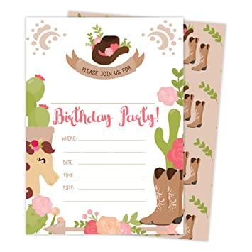 Cowgirl Cow Girl Happy Birthday Invitations Invite Cards 25 Count With Envelopes Seal Stickers Boys