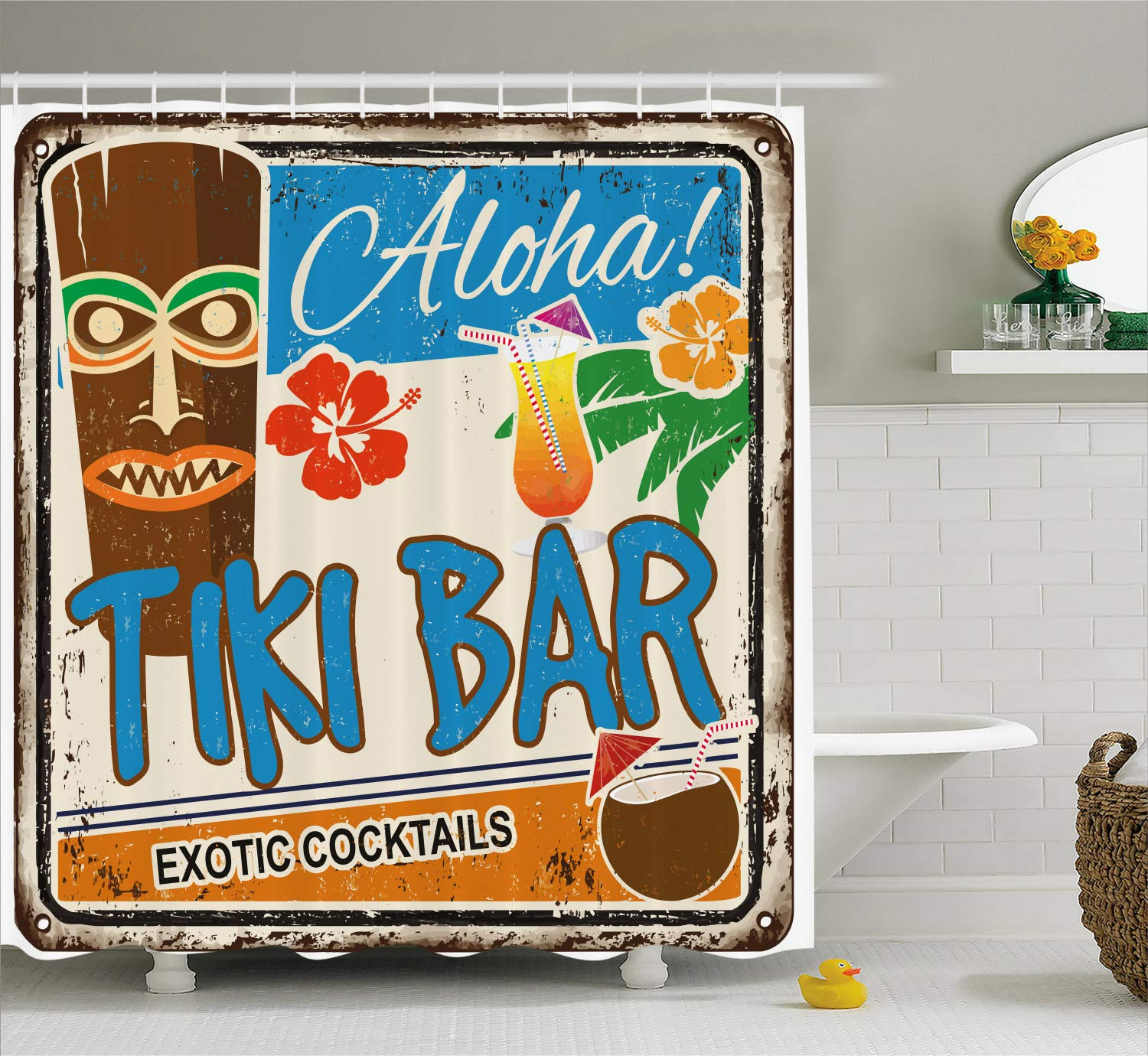 Ambesonne Tiki Bar Shower Curtain, Rusty Vintage Sign Aloha Exotic Cocktails and Coconut Drink Antique Nostalgic, Cloth Fabric Bathroom Decor Set with Hooks, 84'' Extra Long, Blue Brown