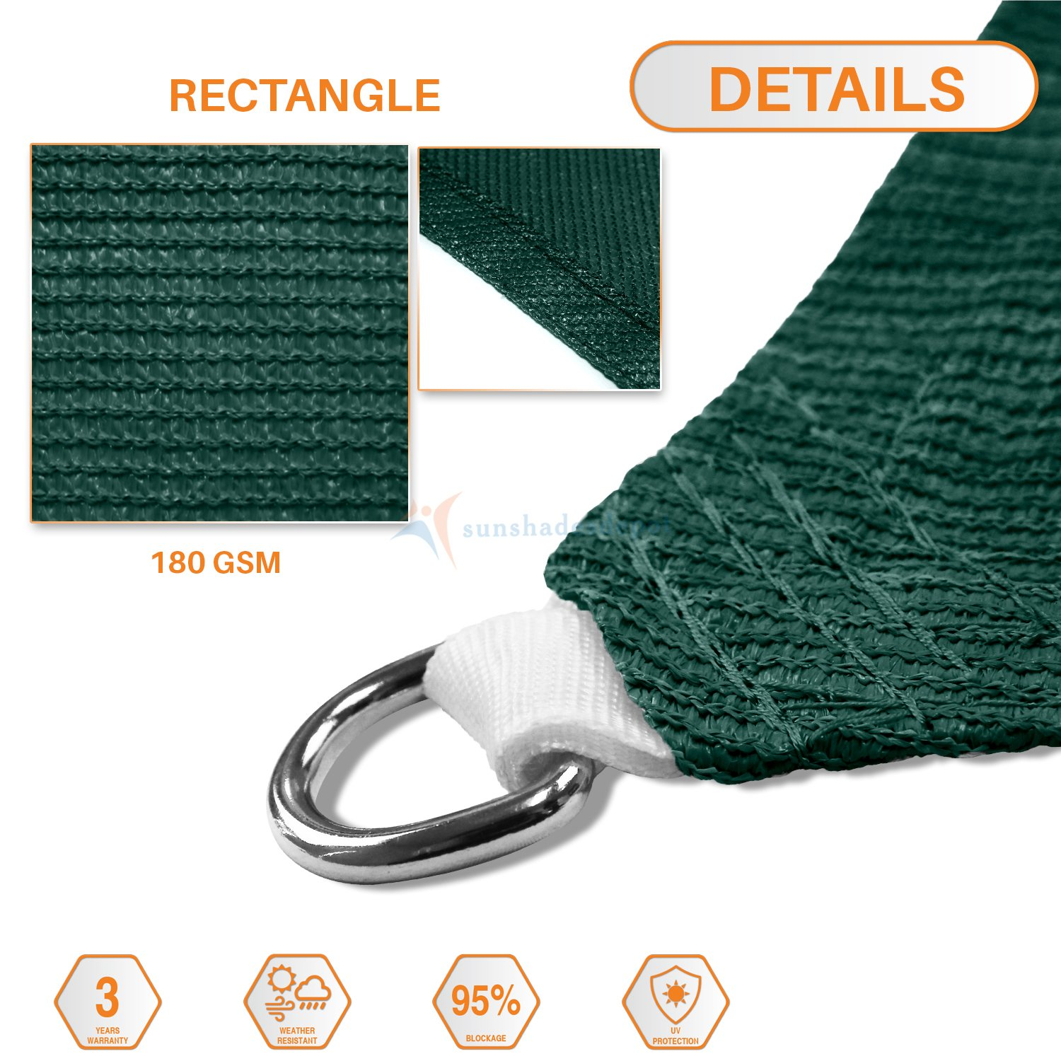 Sunshades Depot 14 x 23 Sun Shade Sail Rectangle Permeable Canopy Dark Green Customize Commercial Standard