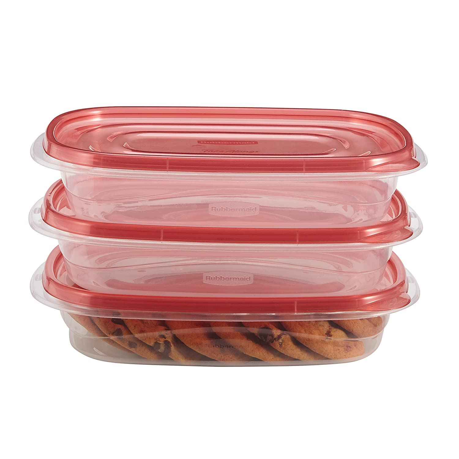 Rubbermaid TakeAlongs Rectangle Food Storage Container, 4 Cup, Tint Chili, 3 Count 1824171