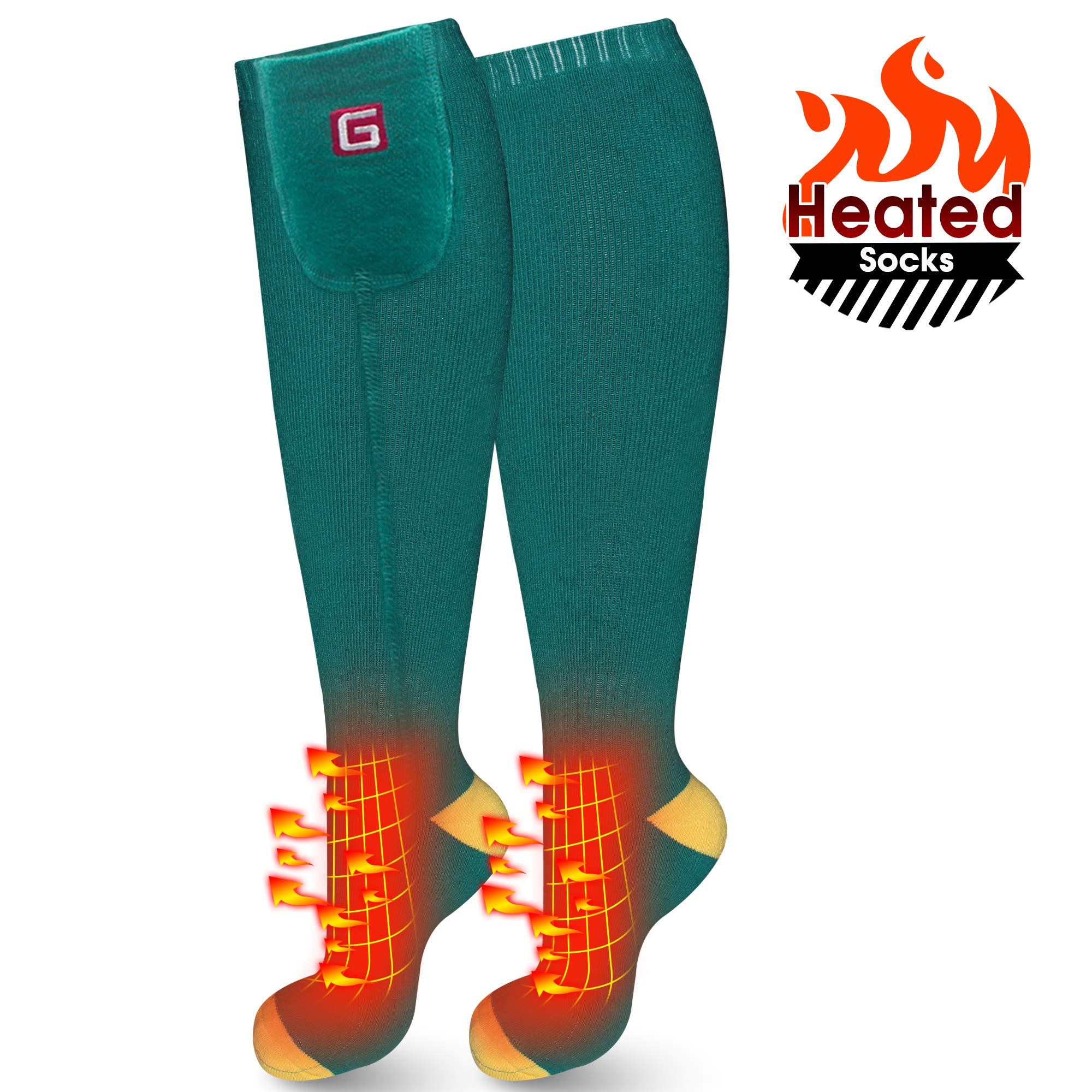 IFWATER Electric Heated Socks for Women Men, Rechargeable Electric Socks Battery Heated Socks Foot Warmer for Chronically Cold Foot, Great for Skiing Hiking Motorcycling Warm Winter Socks (Green-M) by IFWATER