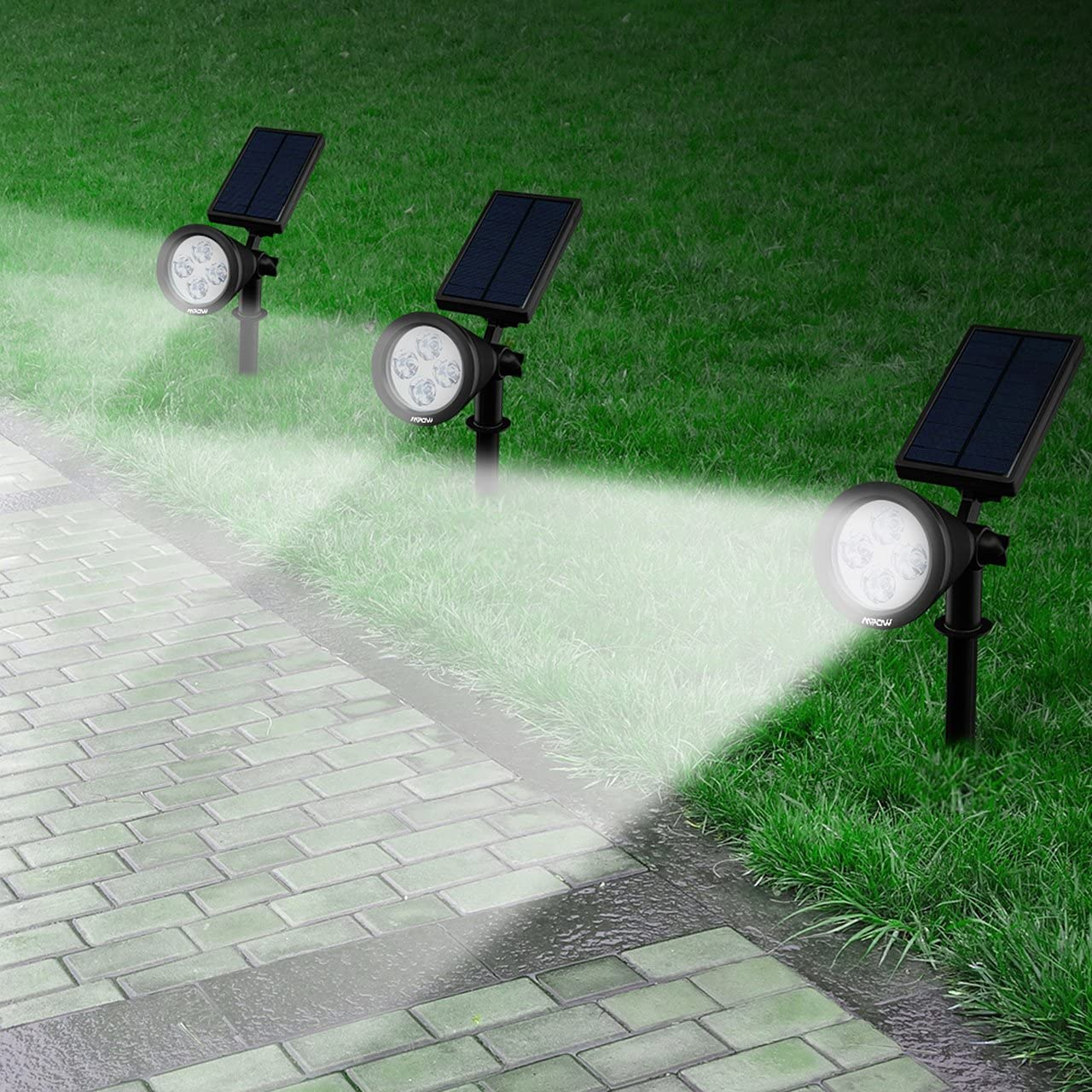 Mpow Foco Solar Impermeable Foco Solar Exterior de 4 LED 1.5W ...
