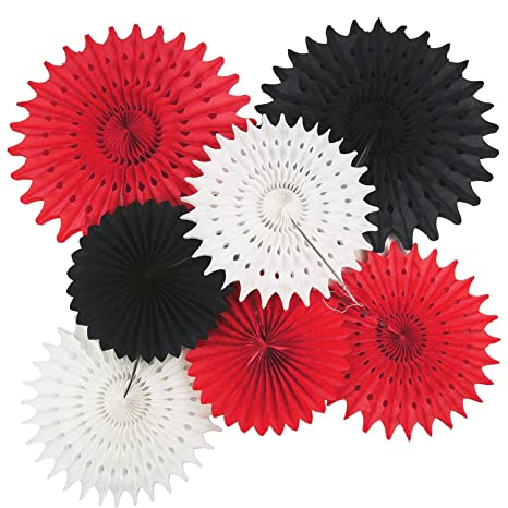 Decoración de fiesta en color rojo negro y blanco, 7 ...