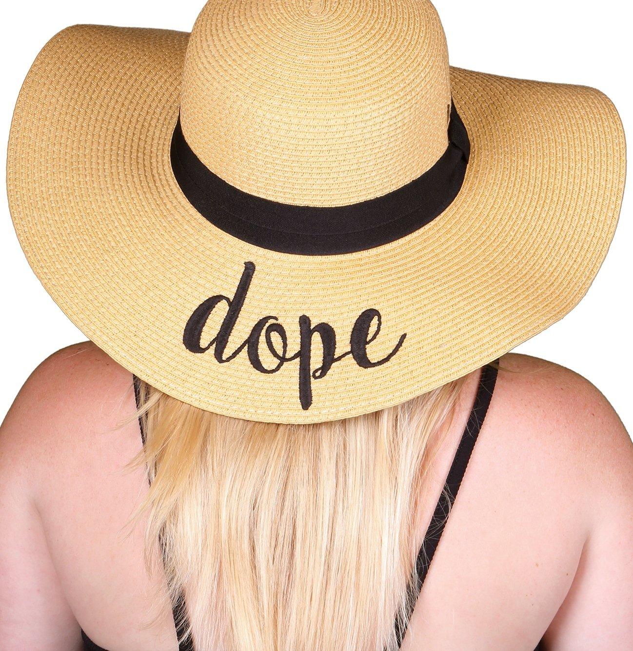 Funky Junque 's Women 's太字筆記体刺繍調節可能なビーチフロッピー太陽帽子 B074CHDQHQ Dope Dope