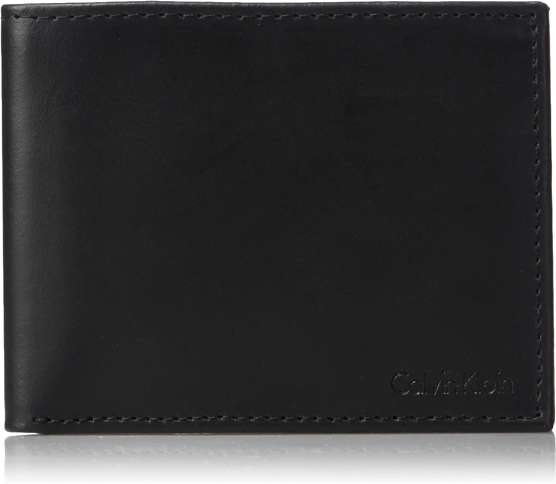 Calvin Klein Mens RFID Blocking Leather Bifold Wallet