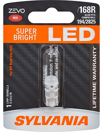 SYLVANIA - 168 T10 W5W ZEVO LED Red Bulb - Bright LED Bulb, Ideal for