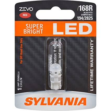 Amazon.com: SYLVANIA - 168 T10 W5W ZEVO LED Red Bulb - Bright LED Bulb, Ideal for Interior Lighting (Contains 1 Bulb): Automotive