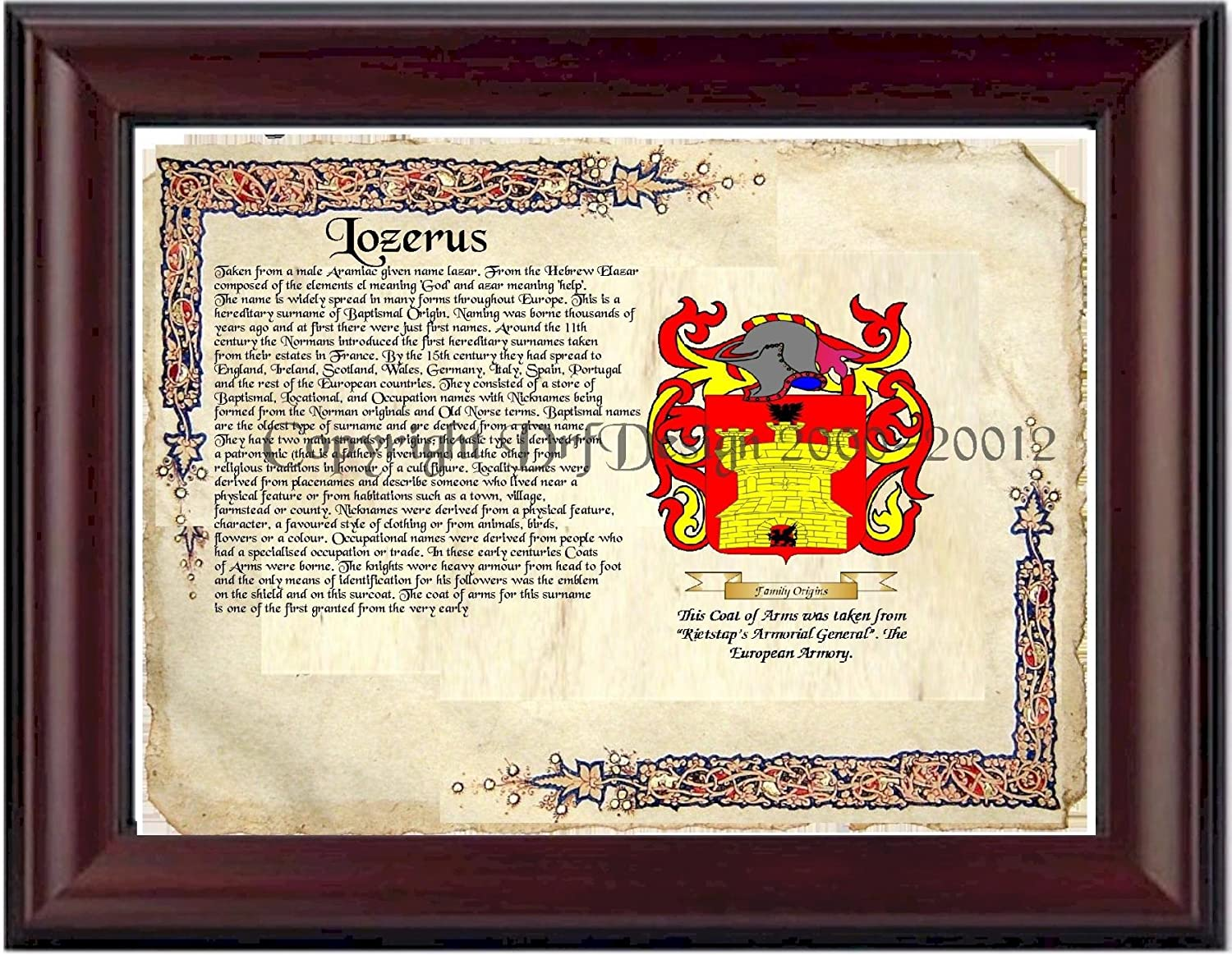 Lozerus Coat of Arms/ Family Crest on Fine Paper and Family