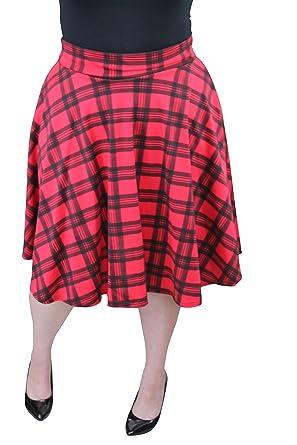 22ba19da776 Miss Foxy Womens Plus Size Tartan Flared Elastic Waist Ladies Short Skater  Skirt - Sizes 14