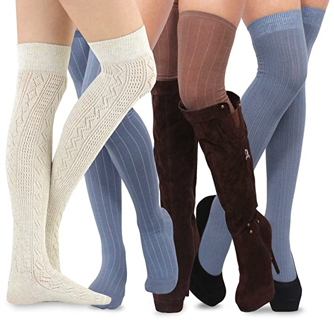 Teehee Women's Fashion Extra Long Cotton Thigh High Socks - 4 Pair Pack  (Assorted)