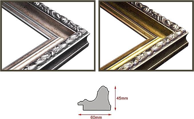 Stabiler R/ückwand Spiegel mit Rahmen Handgefertigte Rahmenleiste: 60 mm breit und 45 mm hoch 23 cm x 23 cm Badezimmerspiegel Antik Rahmen Farbe: Gold- Silber Ramix Alte Spiegel