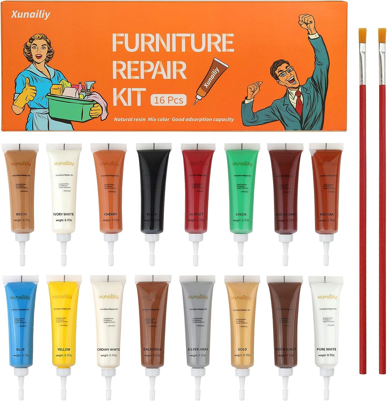 Wood Filler, XunaiLiy Wood Furniture Repair Kit, 16 Colors Hardwood Laminate Floor Repair Kit, Wood Floor Scratch Repair for Furniture, Wood Putty for Wood Filler - Wood Scratch Remover