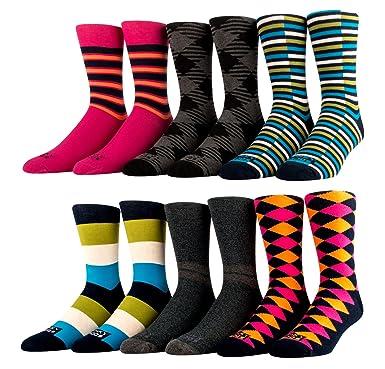 a424df6d30f Amazon.com  Funky Socks 6 Pack - Mens Socks - Casual Socks - Dress ...