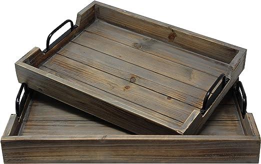 Amazon Com 2 Piece Decorative Nested Vintage Wood Serving Tray