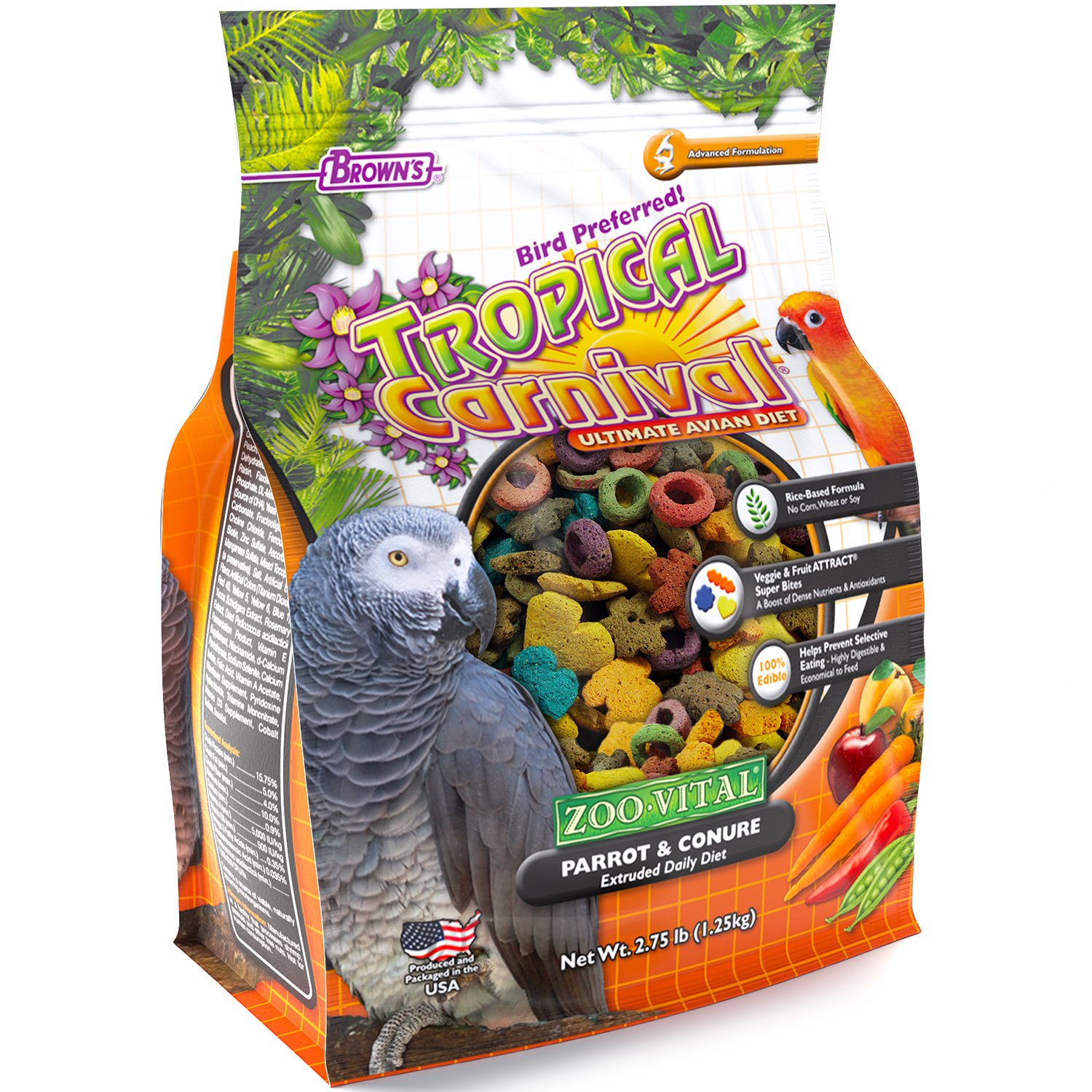 F.M. Brown'S Tropical Carnival Zoo-Vital Parrot & Conure Pellet Daily Diet With Probiotics For Healthy Digestion, 2.75-Lb Bag - Grain-Free, Rice-Based Formula, 100% Edible, Prevents Selective Eating by Tropical Carnival