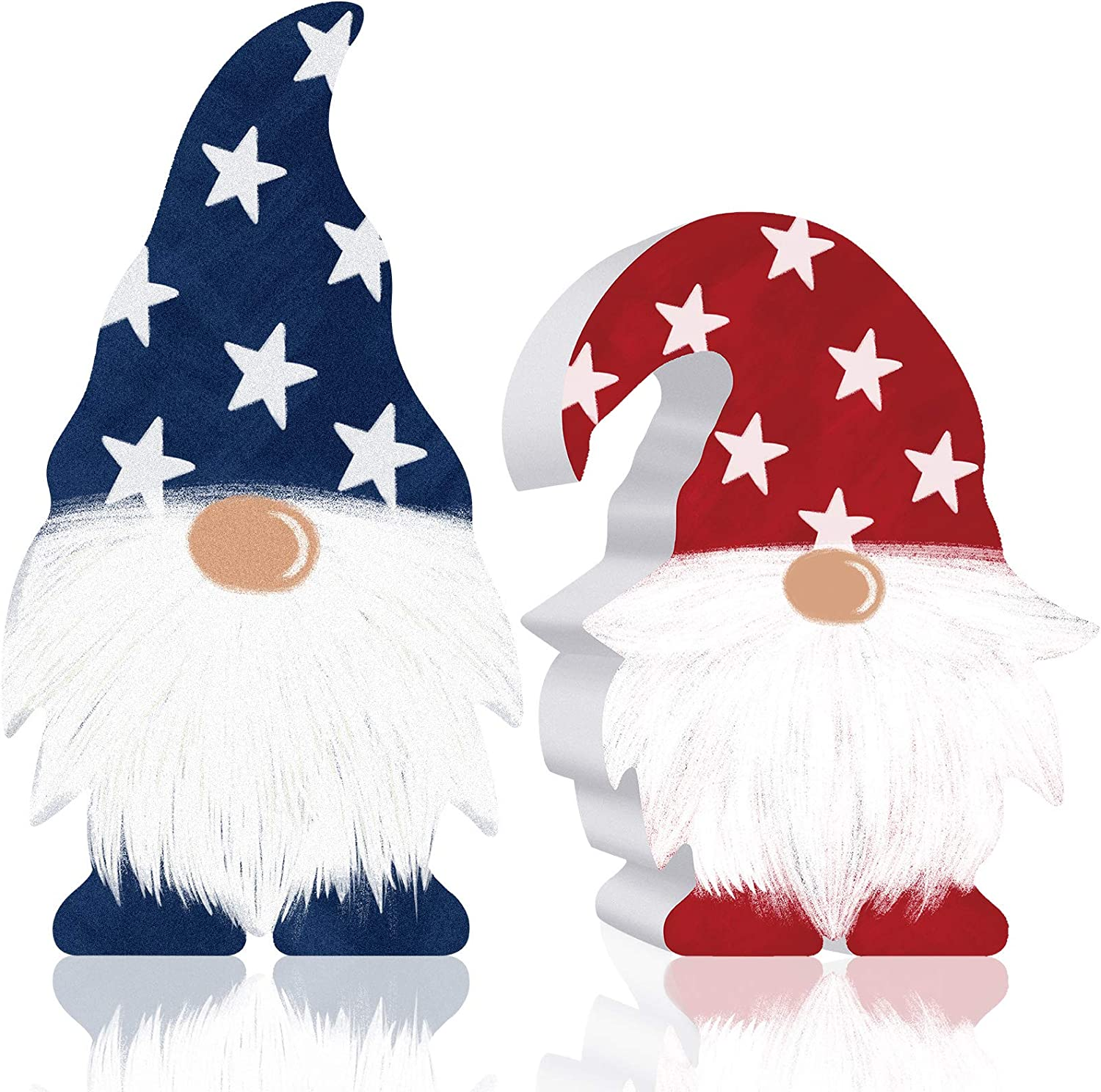 2 Pieces Patriotic Gnome Decor Scandinavian Wooden Sign 4th of July Elf Gnome Farmhouse Kitchen Decor Memorial Day Birthday Tiered Tray Decoration Table Decorations for Independence Day American Decor