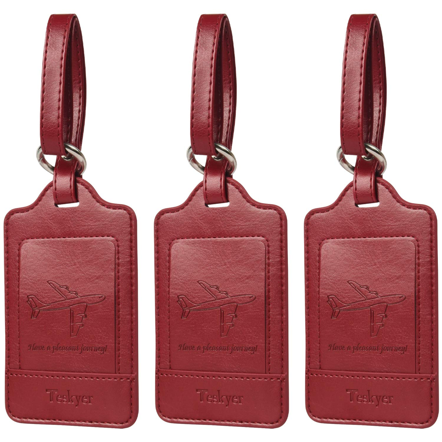 Luggage Tags, 3 Pack Teskyer Premium PU Leahter Luggage Tags Privacy Protection Travel Bag Labels Suitcase Tags-Red by Teskyer