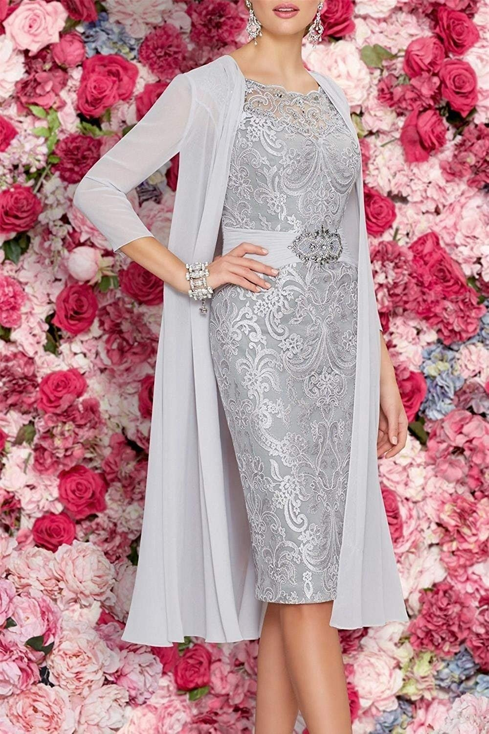 Newdeve Chiffon Mother of The Bride Dresses Tea Length Two ...