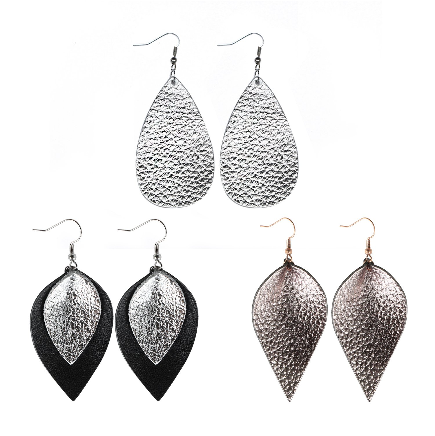 Genuine Leather Earrings 3 Pairs Silver Black Gunmetal Metallic Leather Teardrop Dangle Earrings Set for Women Girls