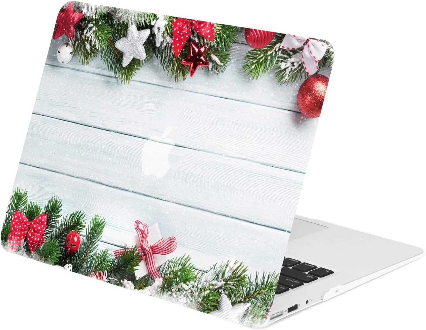 """TOP CASE - Graphics Rubberized Hard Case Compatible Older Generation MacBook Air 13"""" A1369 / A1466 (Release 2010-2017) - Christmas on Wooden"""