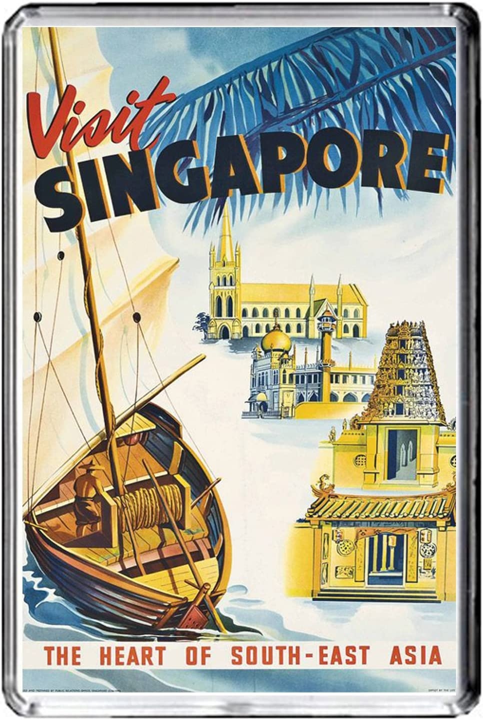 F084 SINGAPORE AIMANT POUR LE FRIGO SINGAPORE VINTAGE TRAVEL PHOTO REFRIGERATOR MAGNET