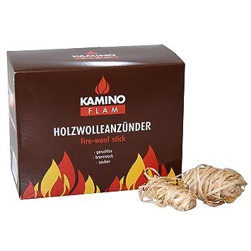 Kamino - Flam - Encendido de lana (32 piezas), Lana de madera, Pastillas de lana para chimeneas, estufas, calderas y barbacoas, Briquetas para chimenea: ...