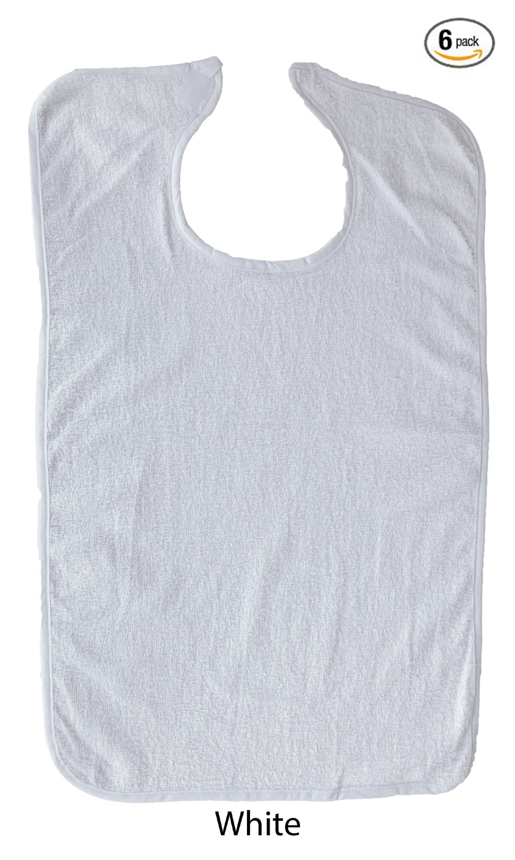Adult Terry Cloth Bib With Velcro Closure Size 18 X 30 - 6 Pack - White