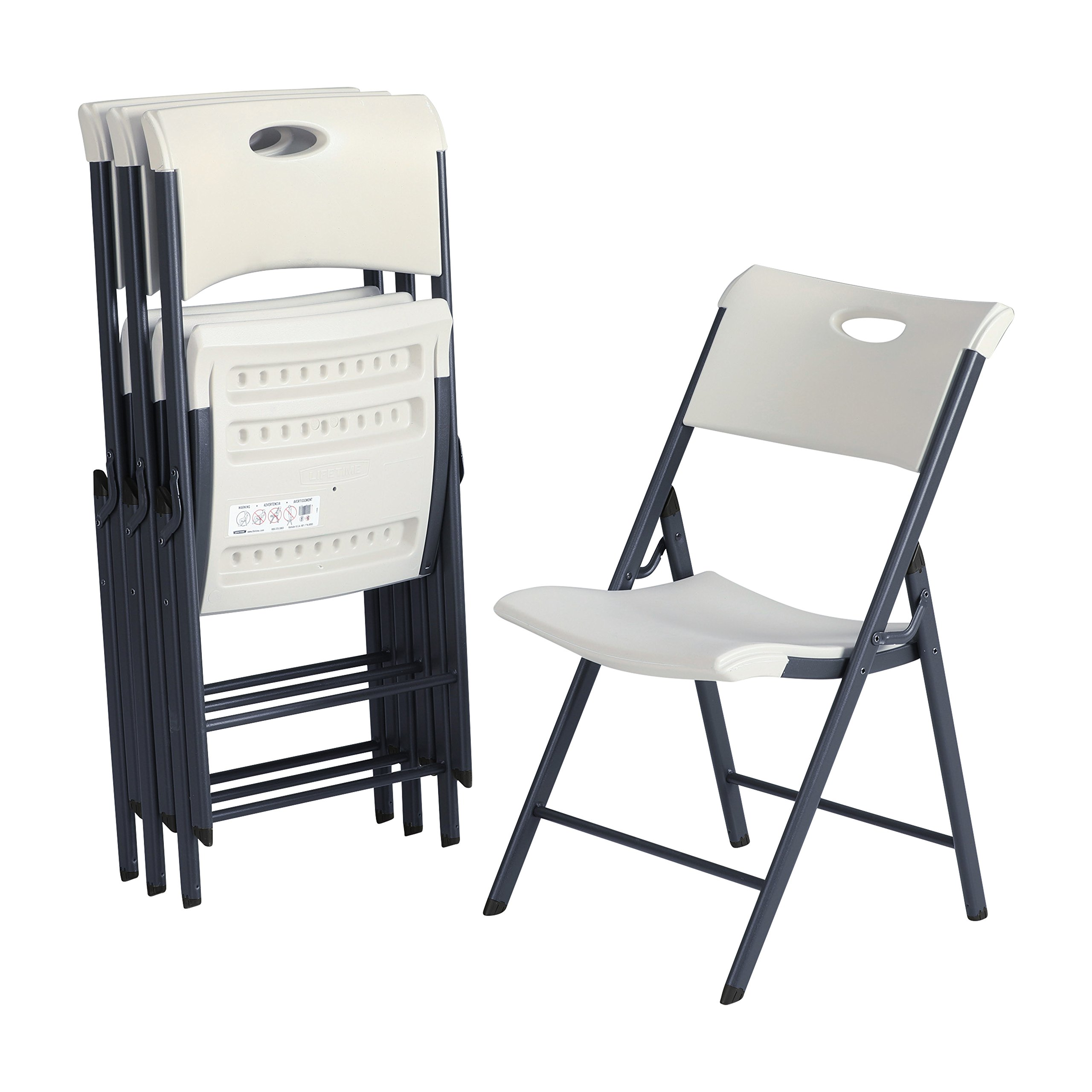 Lifetime Contemporary Commercial Folding Chair (4 Pack), White Granite by Lifetime