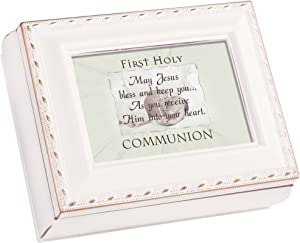 Cottage Garden First Communion Ivory Rope Trim 4.5 x 3.5 Tiny Square Jewelry Keepsake Box