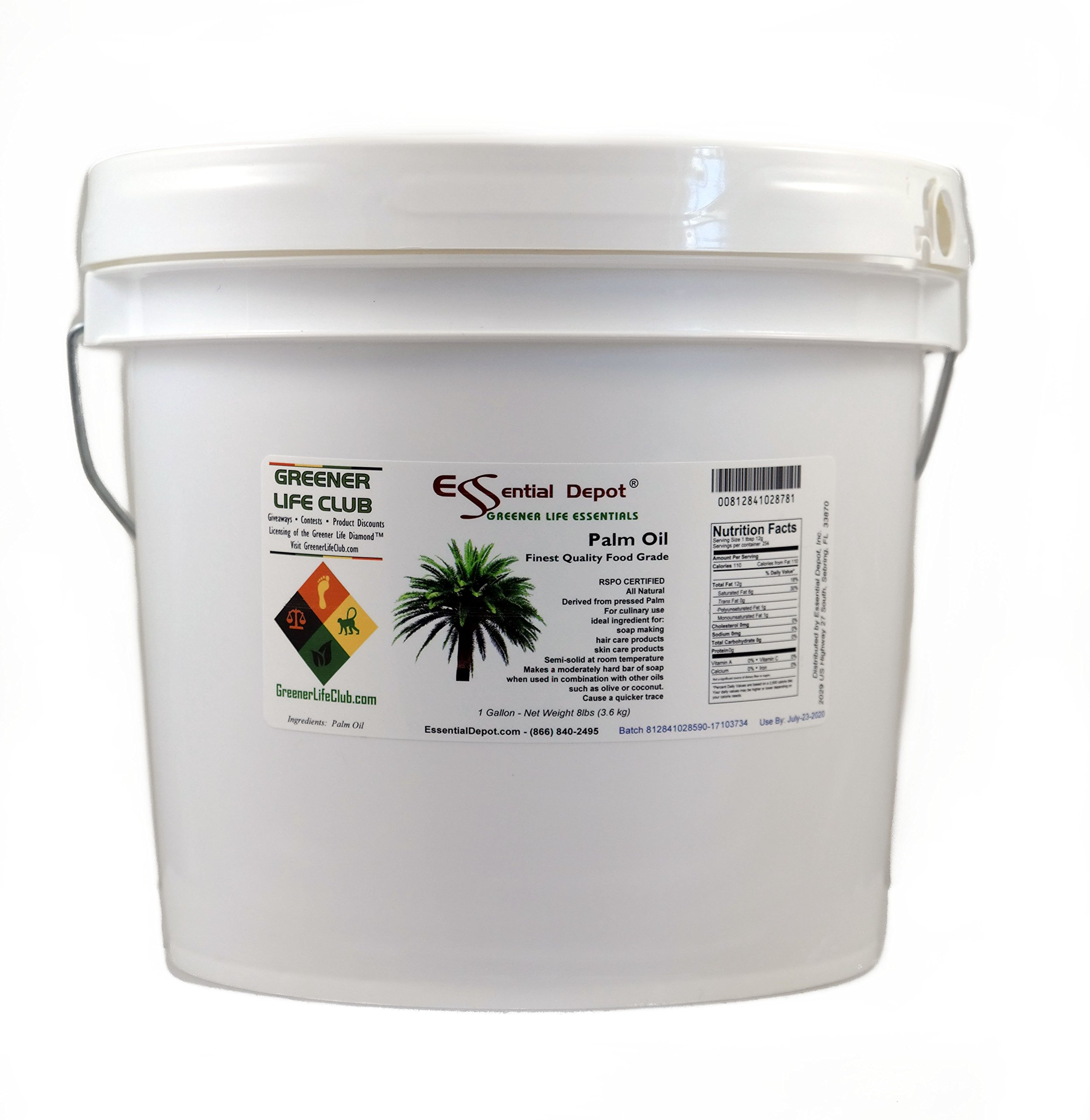 Palm Oil - RSPO Certified - Sustainable - Food Grade - Kosher - Not Hydrogenated - 8 lbs in a 1 Gallon Pail - HDPE microwavable Container with resealable lid and Removable Handle by Essential Depot