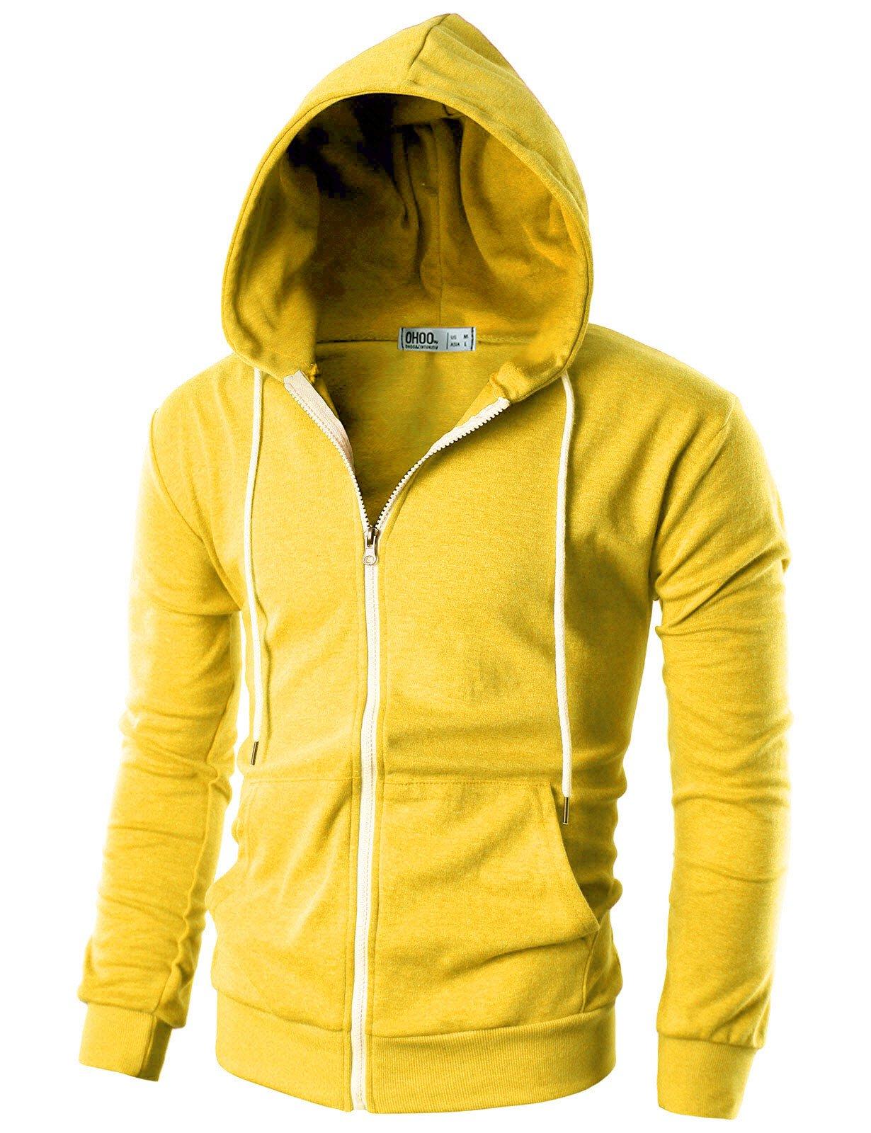 GIVON Mens Slim Fit Long Sleeve Lightweight Zip-up Hoodie with Kanga Pocket/DCF035-YELLOW-S