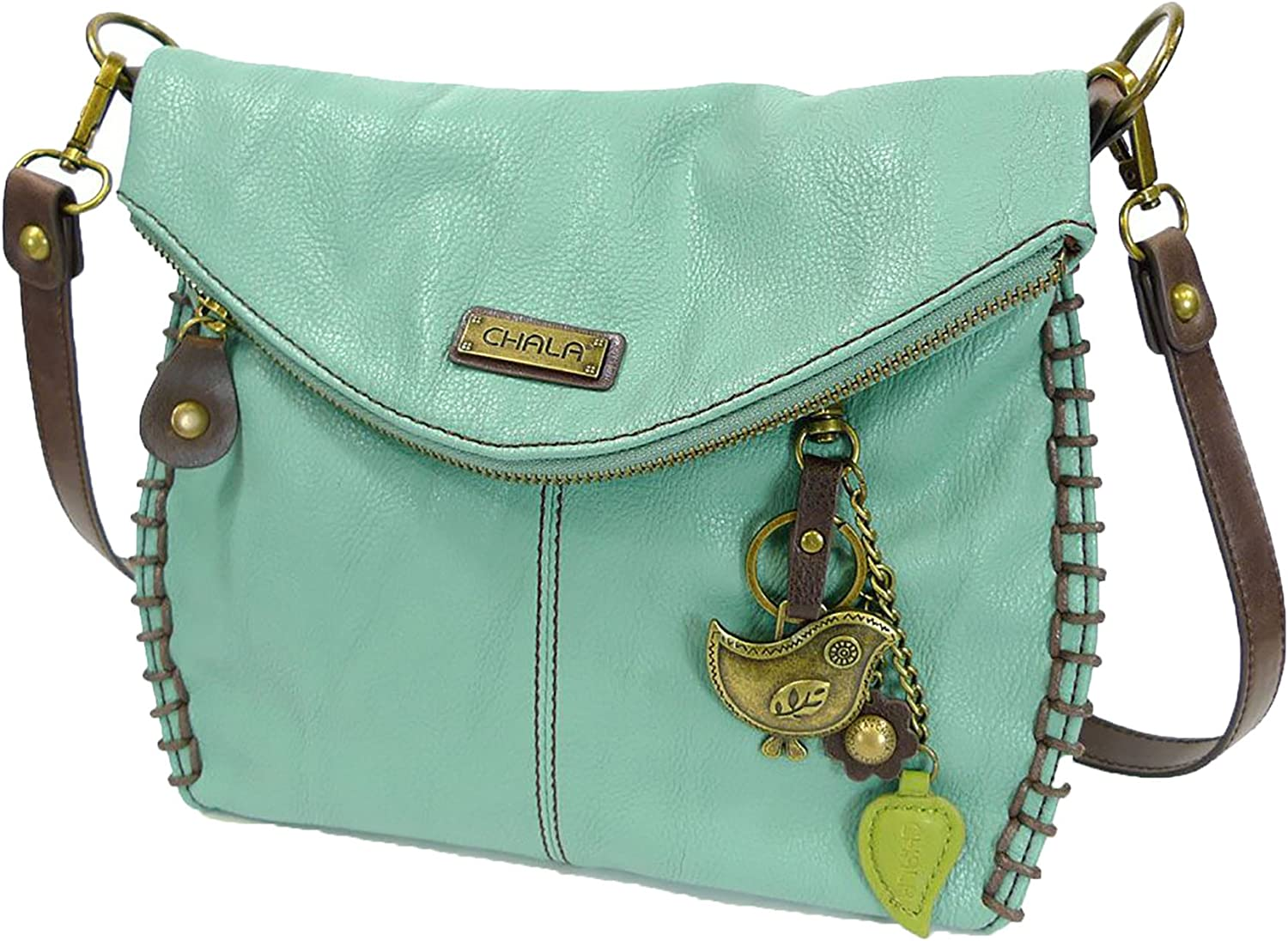 Chala Charming Teal Crossbody Bag With Flap Top and Zipper or Shoulder Handbag