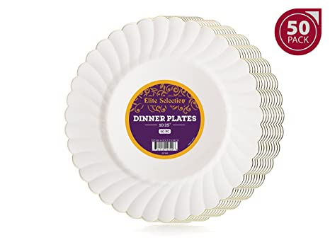 Elite Selection Pack of 50 Dinner Disposable Party Plastic Plates Ivory Cream Color With Gold Flower  sc 1 st  Amazon.com & Amazon.com: Elite Selection Pack of 50 Dinner Disposable Party ...
