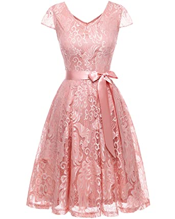 bd74599c316 Bridesmay Women s Short Bridesmaid Dresses Embroidered Floral Lace Dress  with Cap Sleeve Blush S