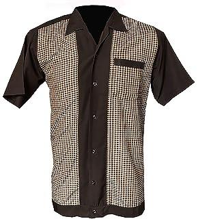Rockabilly Fashions - Camisa de bolos para hombre, estilo retro, talla S a 3XL, diseño de cuadros, color verde: Amazon.es: Ropa y accesorios