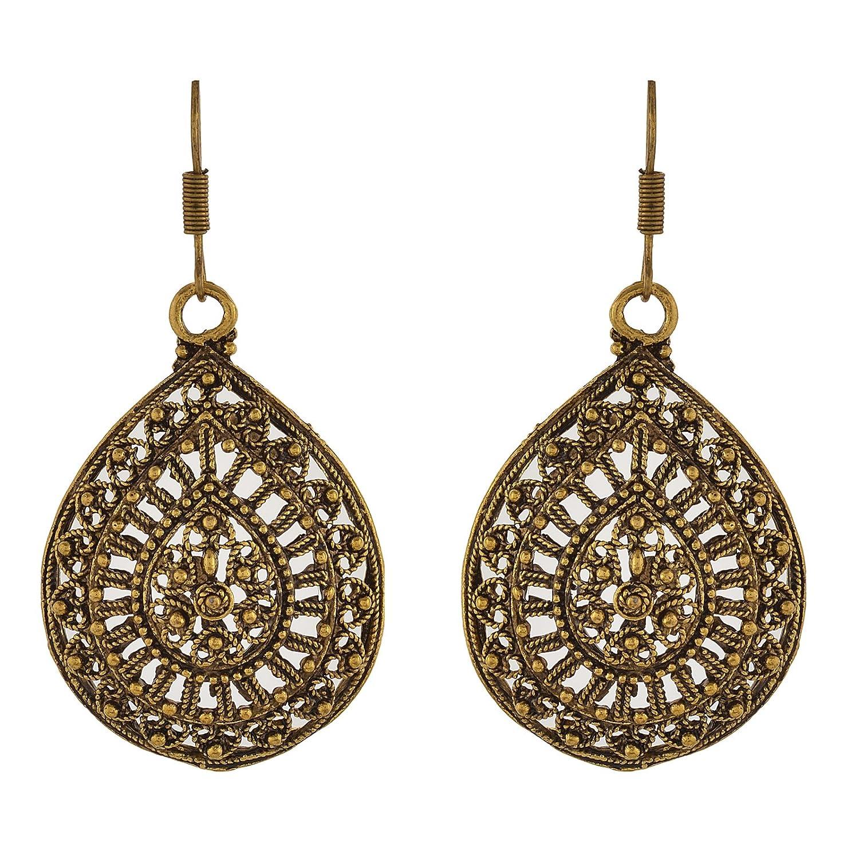 Oreleaa Jewellery German Silver Hanging Hook Lightweight Earrings for Women and Girls