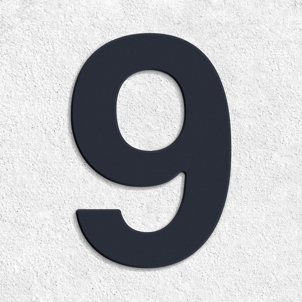Hausnummer Anthrazit thorwa design v2a edelstahl hausnummer 9 feinstruktur beschichtet