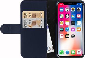 StilGut Custodia per Apple iPhone X/iPhone XS a Portafoglio in Pelle, Blu Nappa